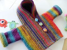 Snug pattern by Hinke, the greatest knitted baby cardigan, sizes: newborn - 3 years, pattern (not free) can be found on Raverly