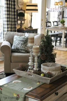 Blog with LOTS of great decorating ideas (and i love the coffee table tray in this pic!)