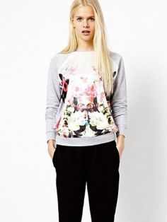 Spring and Fall Casual Long-Sleeved Round Neck Plus Size Stitching Flowers Printed Gray Cotton Fleece