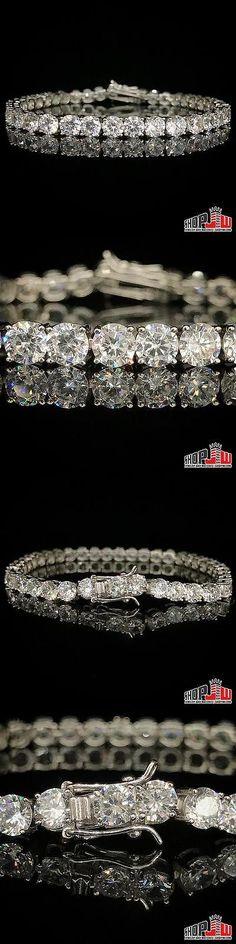 Bracelets 137835: 14K White Gold Finish .925 Silver 1 Row Simulated Diamond Bracelet Tennis 5Mm 8 -> BUY IT NOW ONLY: $65 on eBay!