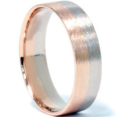 Mens 6MM Solid 14K Whtie & Rose Gold Two Tone Flat Brushed Wedding Ring Band Size for Jeff $399