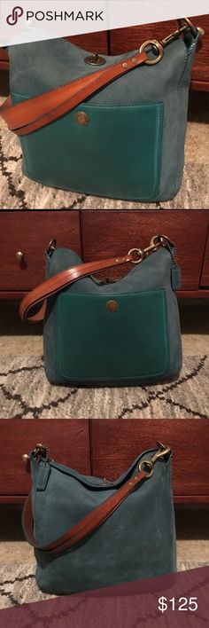 Spotted while shopping on Poshmark: Authentic Coach Teal Leather and Suede Bag! #poshmark #fashion #shopping #style #Coach #Handbags