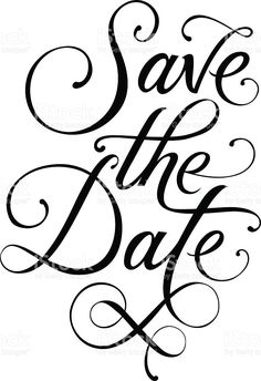 save the date black and white hand lettering inscription typography