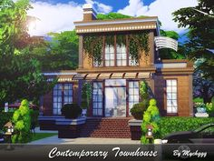Contemporary Townhouse by MychQQQ for The Sims 4 Sims 4 House Building, Sims House Plans, Lotes The Sims 4, Sims Cc, Sims 4 Loft, Sims 4 House Design, Sims 4 Gameplay, Casas The Sims 4, Best Sims