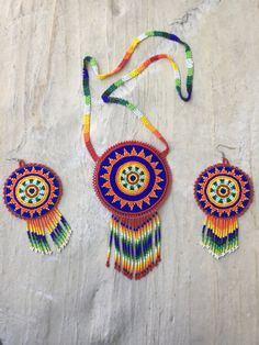 Authentic huichol beaded medallion necklace set with medallion earrings. Morning…