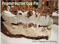 Peanut Butter Cup pie with chocolate graham cracker crust, creamy peanut butter filling, and garnished with Reese's Cups, Peanut Butter Cup Pie Recipe