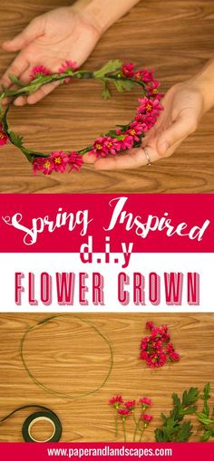 Flowers are blooming and ideas are too. That's why today we have this easy DIY Flower Crown, inspired by the season, just for you. Flower Crown Tutorial, Diy Flower Crown, Diy Crown, Flower Crowns, Bow Tutorial, Flower Tiara, Flower Girls, Hippie Flowers, Fake Flowers