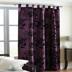 Dark Purple Curtains At Night | Plum Printed Flock Heather Design Satin  Curtain Panel Size 145  Dark Purple Curtains