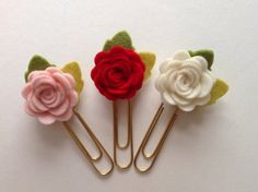 Felt Roses Flower Planner Clips Die Cut Shapes by heartfeltpetals