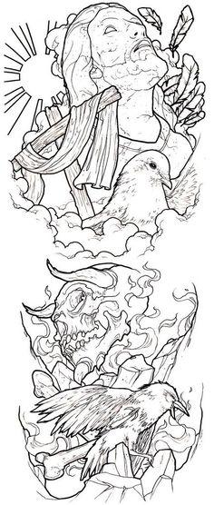 good / evil conflict tattoo sleeve idea photo by ronnie hicks Jesus Tattoo, 4 Tattoo, Body Art Tattoos, Spray Tattoo, Religion Tattoos, Tattoo Design Drawings, Tattoo Sketches, Tattoo Designs, Tattoo Outline Drawing