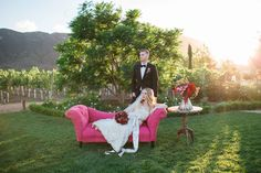 Bride and Groom Relax on Vineyard with Pink Couch  Photography: Jenny Quicksall Photography Read More: http://www.insideweddings.com/weddings/romantic-wedding-shoot-for-valentines-day-at-california-vineyard/751/