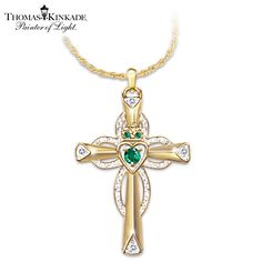Sculpted Claddagh cross pendant, inspired by Kinkade's art, crafted in solid sterling silver, 24K-gold plating, with 3 emeralds, 4 diamonds.