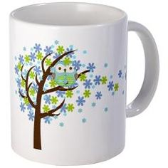 Blue Windy Tree Owl Mug