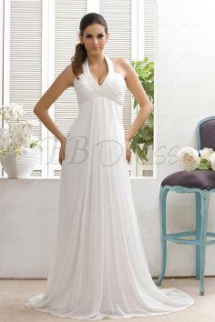 Plain Empire Halter Top Court Train Taline's Wedding Dress : Tbdress.com
