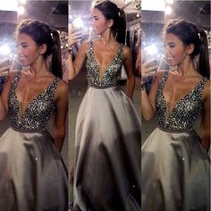 Beaded Sparkly Prom Dresses From China Vestidos De Festa V-Neck Imported Party Dress A-Line Satin Formal Evening Gowns 2017