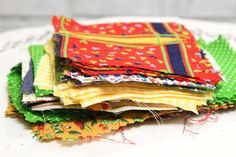 Vintage Fabric Scraps Squares and Rectangles by CabinOn6th on Etsy