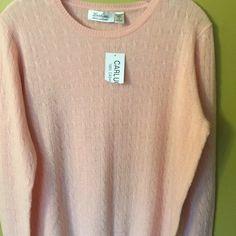 Genuine cashmere peach sweater. Never worn. Beautiful cashmere sweater. Very pretty peach color. Non smoking home Carlucci Sweaters Cardigans