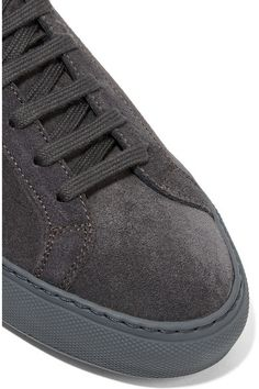 Rubber sole measures approximately 25mm/ 1 inch Dark-gray suede Lace-up front…