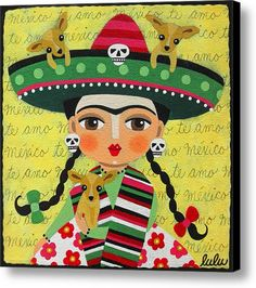 Frida Kahlo With Sombrero And Chihuahuas Canvas Print / Canvas Art By Lulu Mypinkturtle