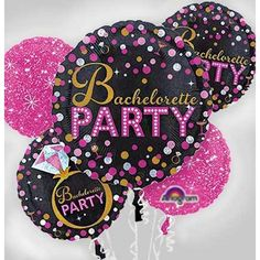 Bachelorette Party Balloon Bouquet 5pc - Sassy BridePop the bubbles and let loose the balloons — it's your girl's bachelorette party!Sassy Bride Bachelorette Party Balloon Bouquet features a stylish black, hot pink, gold, and silver theme with martini glasses and diamond rings.These round foil balloons are printed on both sides and can serve as a room centerpiece or accompaniment for a gift.Sassy Bride Bachelorette Party Balloon Bouquet includes:Foil Bachelorette Party Balloon, 28in2 foil…