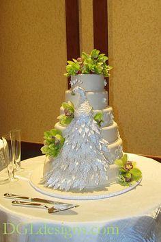 Lullwater Ballroom Emory wedding reception cake peacock sculpture green cymbidium orchids photo #EasyNip