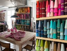 Manuel Canovas' Parisian Studio via Walter G ( I want a art studio filled with threads for sewing- this looks amazing!)