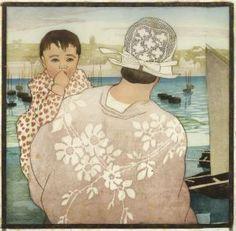 bretonne et son enfant, peinture de carl moser