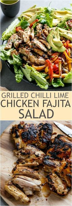Grilled Chilli Lime Chicken Fajita Salad - Tender and juicy chicken thighs grilled in a chilli lime marinade that doubles as a dressing! Creamy avocado slices, grilled red and yellow peppers, and succulent chicken pieces. Yum!: