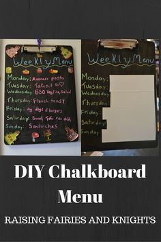 DIY Chalkboard Menu - A great way to get organized in the kitchen.