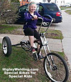 3 wheel chopper bikes for kids with special needs. www.HigleyWelding.com phone 763-438-0356