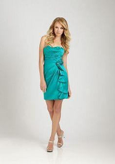 Alluring Satin Strapless Natural Waist Sheath/ Column Bridesmaid Dress - 1300252019B - US$88.79 - BellasDress