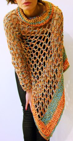 Resultado de imagen para ponchos tejidos a palillo y con mangas Ponchos  Tejidos A Palillo 767c28afa60