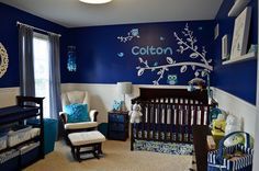 royal blue navy wall boy owl theme nursery tree branch wall decal... in love with the blues, but maybe add in some more orange/lime green