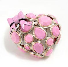 "Lola Brooks, bubblegumheart, Brooch in vintage rhinestones, stainless steel, 14k gold and vitreous enamel. 2.25 x 2.5 x 1.75"" (USA)"