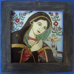 Maica Indurerata Orthodox Icons, Virgin Mary, Madonna, Folk Art, Modern Art, Frame, Glass, Painting, Angels