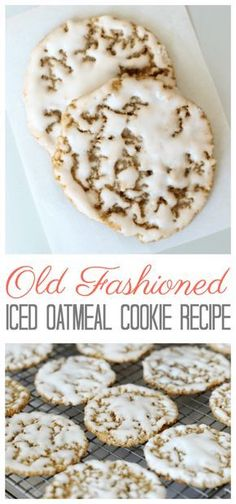 Old fashioned iced oatmeal cookies are the perfect after school treat with a glass of milk. Use our iced oatmeal cookie recipe to create crispy and chewy cookies that are dipped in a creamy vanilla… Mini Desserts, Cookie Desserts, Just Desserts, Delicious Desserts, Dessert Recipes, Yummy Food, Old School Desserts, Plated Desserts, Dessert Ideas