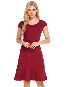 Red Cap Sleeve Front Draped Belted Ruffles Hem Dress