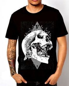 5a61cc163d8 Skull t shirts for men rock style cool black t shirt cotton