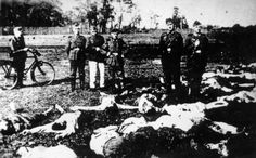 SS men (some just boys, really) pose among the corpses of murdered Jews at Chelmno.  That they were willing to have photographs taken of themselves  standing among evidence of a monstrous crime, speaks of their atrophied,  blackened souls, and of the absolute conviction that Germany would win the war.