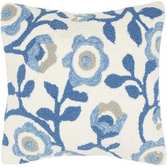 Add a pop of pattern to your porch swing or patio seating group with this lovely pillow, showcasing a cool-hued floral design.   Pro...