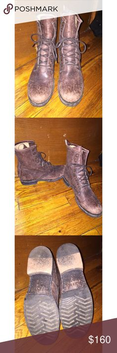 Frye distressed brown boots These have only been worn twice! Lace up with two extra holes above where laces are tied. Distressed look so the the lighter spots were there when bought. Mid height and size 8 ⭐️ Frye Shoes Lace Up Boots