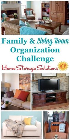 Whether your family room or living room is big or small, it's a gathering place for everyone in the family. Here are step by step instructions for this week's challenge for organizing living room and family room spaces to make them work for you {part of the 52 Week Organized Home Challenge on Home Storage Solutions 101}