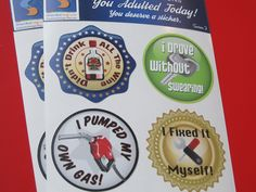 Adult Reward Stickers Series 2 You Adulted Today Congratulations adult humor snarky sarcastic decals women woman sticker decal funny by StreamlineDesign on Etsy