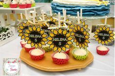 Sunflower treats at a Frozen Fever birthday party! See more party planning ideas at CatchMyParty.com!