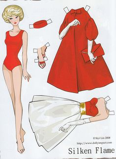 Barbie Silken Flame paper doll by Siyi Lin. I remember having this outfit for my actual Barbie, too! Barbie Paper Dolls, Vintage Paper Dolls, Vintage Barbie, Vintage Toys, Paper Toys, Paper Crafts, Paper Dolls Printable, Barbie Clothes, Doll Patterns