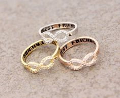 Best Friend Infinity ring Cubic Zirconia Setting in by ModsTheMost (three best friend gifts) Bff Necklaces, Best Friend Necklaces, Best Friend Jewelry, Bestie Gifts, Gifts For Friends, Friend Gifts, Bff Rings, Couple Rings, Best Friend Rings
