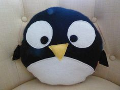 Penguin Pillow, Novelty Pillow, Wool, Cashmere, Upcycled, Recycled. by OgsploshAccessories on Etsy