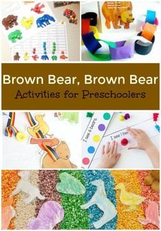 Use these literacy, math, sensory, fine motor, snack and treat ideas to go along with the popular children's book Brown Bear Brown Bear What Do You See