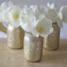 Gold Glitter Jar Vase For Wedding Centrepieces - available from www.theweddingofmydreams.co.uk #theweddingofmydreams