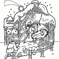 XMAS COLORING PAGES BABY JESUS NATIVITY
